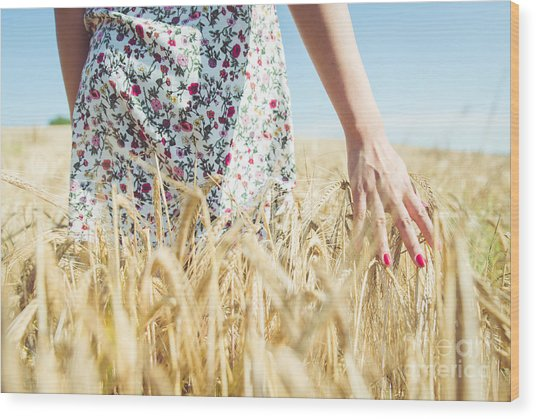 Woman Walking In The Wheat- Concept Wood Print