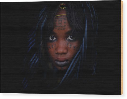 Woman With Blue Head Scarf And Facial Wood Print by Timothy Allen