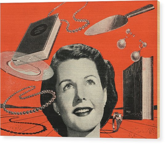 Woman With Consumer Goods Wood Print by Graphicaartis