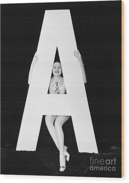 Woman With Huge Letter A Wood Print by Everett Collection