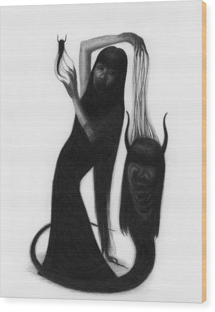 Woman With The Demon's Fingers - Artwork Wood Print