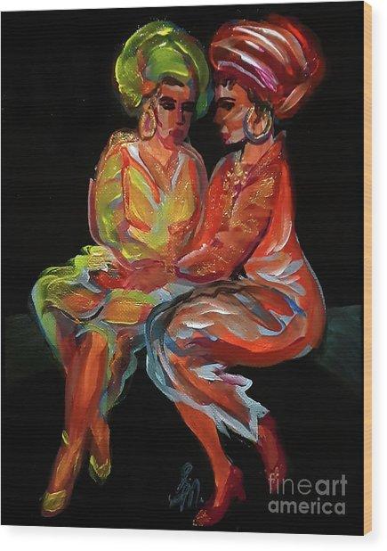 Women In Conversation Wood Print