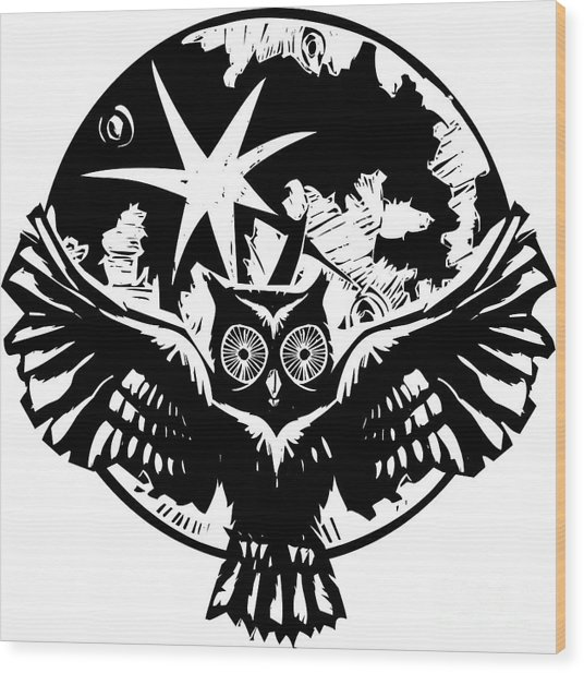 Woodcut Flying Owl With Feathered Wings Wood Print