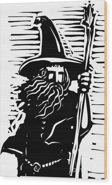 Woodcut Style Image Of A Magical Wizard Wood Print
