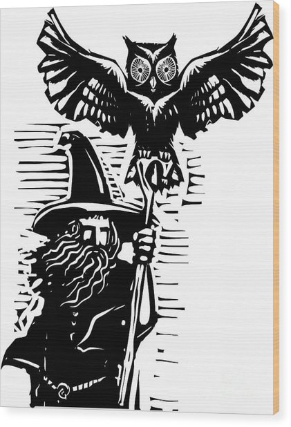 Woodcut Style Image Of A Wizard Holding Wood Print