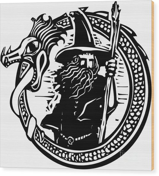 Woodcut Style Image Of A Wizard In A An Wood Print