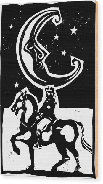 Woodcut Style Moon And Mounted King On Wood Print
