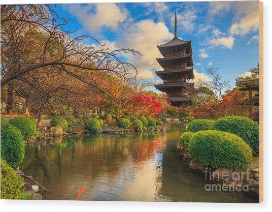 Wooden Pagoda Of Toji Temple, Kyoto Wood Print