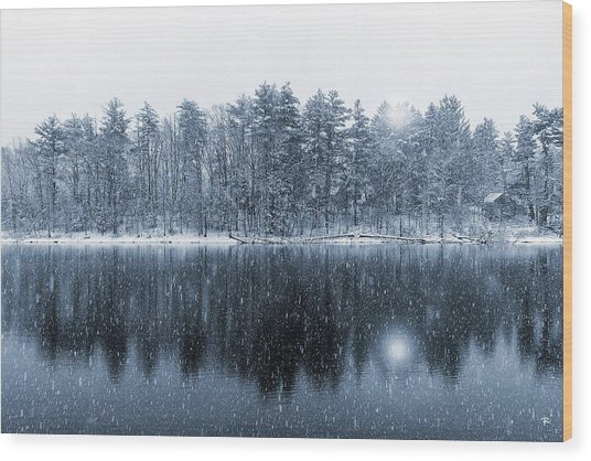 Woodstock Snowstorm Wood Print