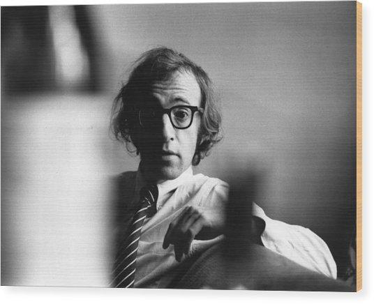Woody Allen Wood Print by Evening Standard