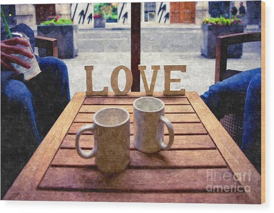 Word Love Next To Two Cups Of Coffee On A Table In A Cafeteria,  Wood Print