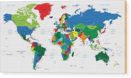 World Map-countries Wood Print