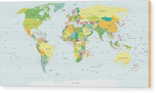 World Map - Highly Detailed Vector Wood Print