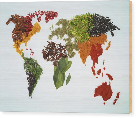World Map With Spices And Herbs Wood Print by Yamada Taro