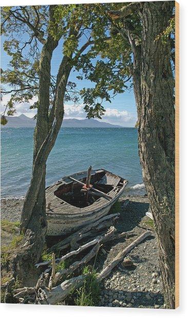 Wrecked Boat Patagonia Wood Print