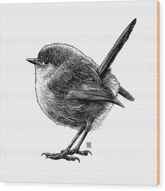 Wood Print featuring the drawing Wren by Clint Hansen