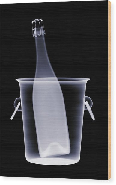 X-ray Of A Bottle Of Champagne In An Wood Print