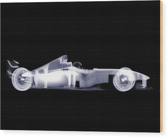 X-ray Of A Toy Formula One Race Car Wood Print by Nick Veasey