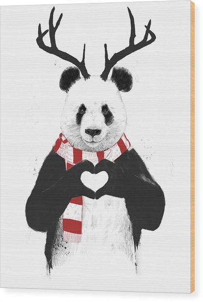 Xmas Panda  Wood Print