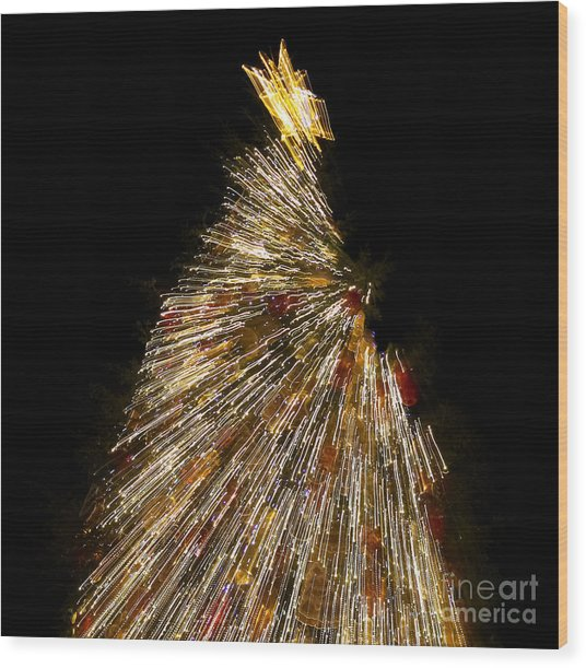 Xmas Tree Motion Art Wood Print
