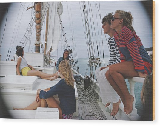 Yachting In Lyford Cay Wood Print by Slim Aarons