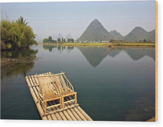 Yangshuo, Bamboo Raft On The Yulong Wood Print