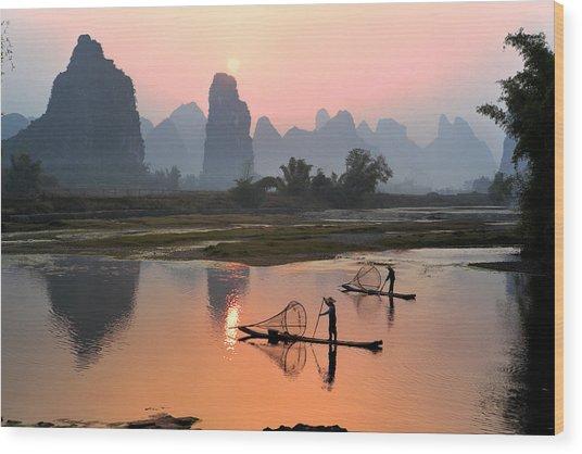 Yangshuo Li River At Sunset Wood Print by Kingwu