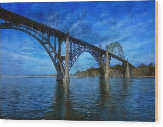 Yaquina Bay Bridge From South Beach Wood Print