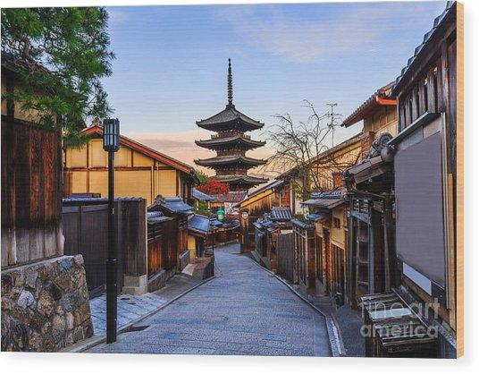 Yasaka Pagoda And Sannen Zaka Street In Wood Print