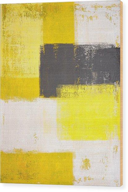 Yellow And Grey Abstract Art Painting Wood Print