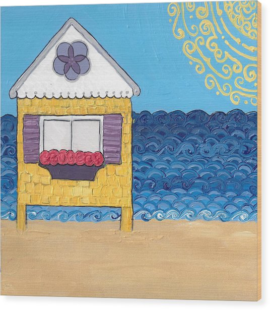 Yellow Cottage On The Beach Wood Print