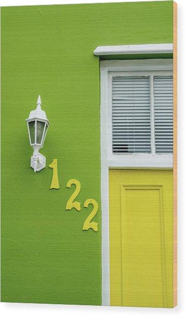 Yellow Door And Green Wall In Bo-kaap Wood Print