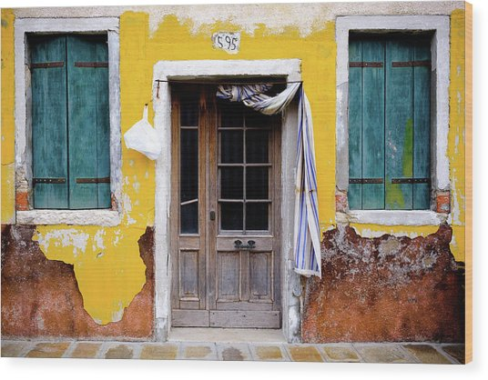 Wood Print featuring the photograph Yellow Doorway by Nicole Young
