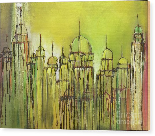 Yellow Mosque  Wood Print