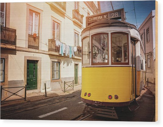 Yellow Tram 28 Lisbon Portugal  Wood Print