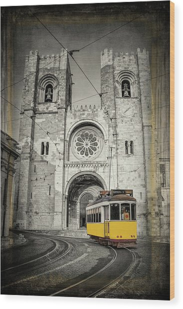 Yellow Tram And Cathedral Lisbon Portugal Wood Print