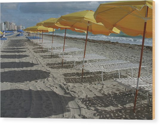 Yellow Umbrellas In South Beach Wood Print by Theresemck