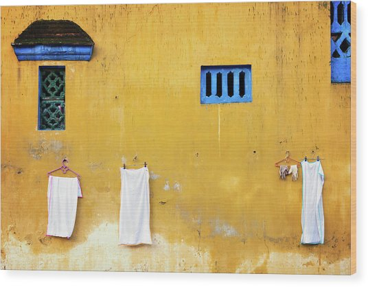 Wood Print featuring the photograph Yellow Wall by Nicole Young