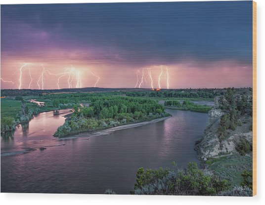 Yellowstone River Lightning Wood Print