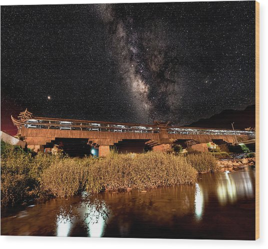 Wood Print featuring the photograph Yonghe Bridge Milky Way by William Dickman