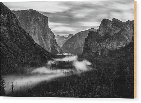Yosemite Fog 1 Wood Print