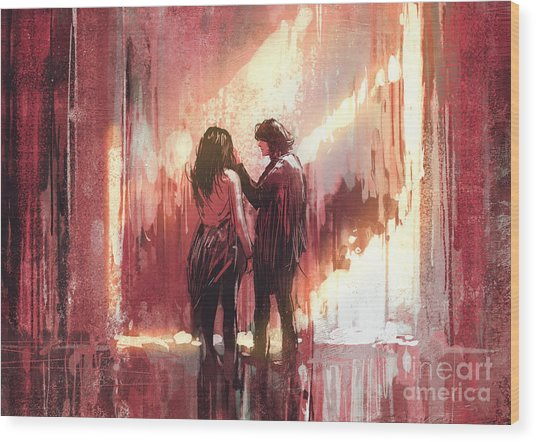 Young Couple In Love Outdoor,digital Wood Print