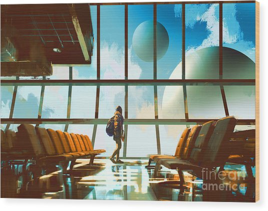 Young Girl Walking In Airport Looking Wood Print