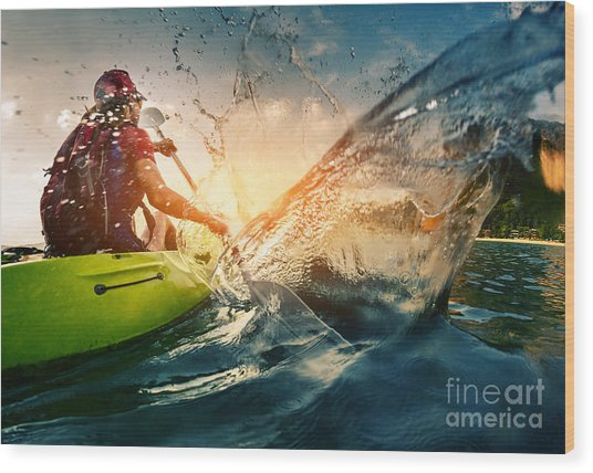 Young Lady Paddling Hard The Kayak With Wood Print by Dudarev Mikhail