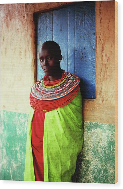 Young Samburu Woman Outside Shop Wood Print