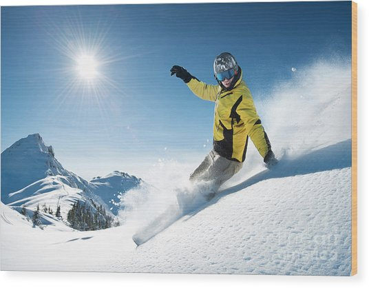 Young Snowboarder In Deep Powder - Wood Print