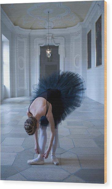 Young Woman Ballerina Adjusting Her Wood Print