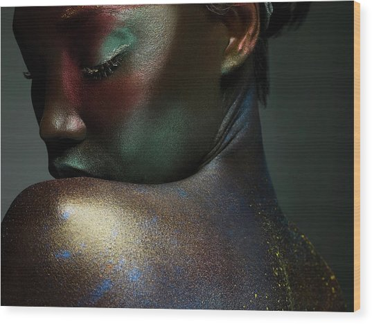 Young Woman Covered In Metallic Make Up Wood Print by Image Source