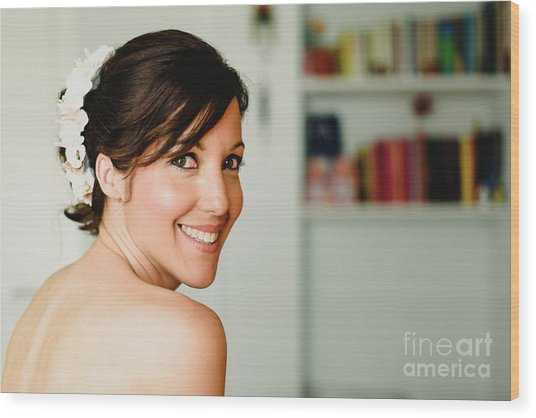Young Woman From Behind Smiling Wood Print
