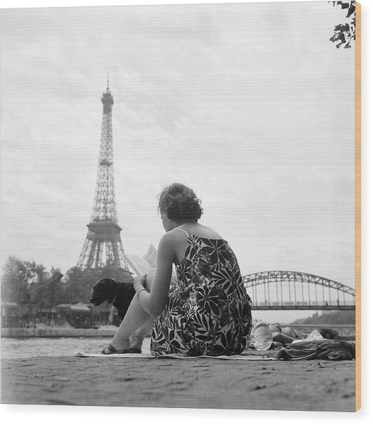 Young Woman Taking In The Sun On The Wood Print by Keystone-france
